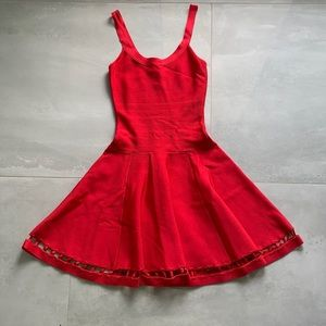MARCIANO red bandage cocktail dress